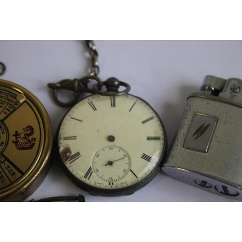 21 - A HALLMARKED SILVER OPEN FACE POCKET WATCH, together with a Roamer Anfibio wrist watch, cigarette li...