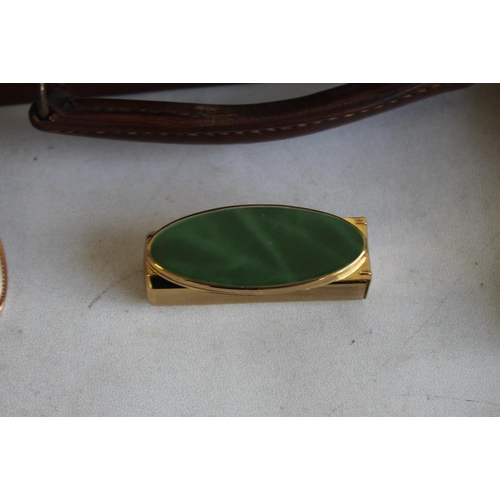 29 - A MINIATURE CHILD'S LEATHER SUITCASE, together with a boxed stratton lipstick mirror and two other v...