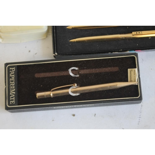 32 - A SELECTION OF PEN AND PENCIL SETS, to include Waterman, Papermate, Conway Stewart  etc