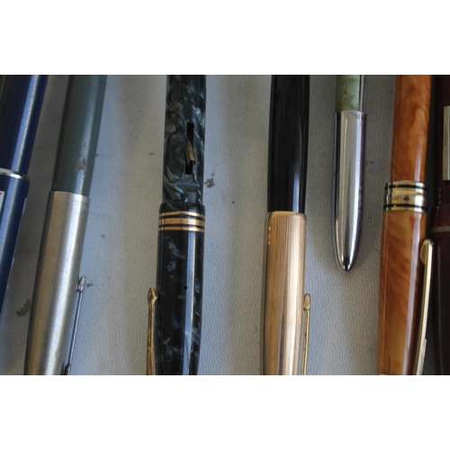 33 - A SELECTION OF PENS, to include Osmiroid, Parker, Papermate etc and a mother-of-pearl handled dip pe...