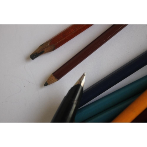 35 - THREE VINTAGE FOUNTAIN PENS, A MENTIMORE DIPLOMA, STEEL PARKER AND A SHEAFFER WHITE DOT, along with ...