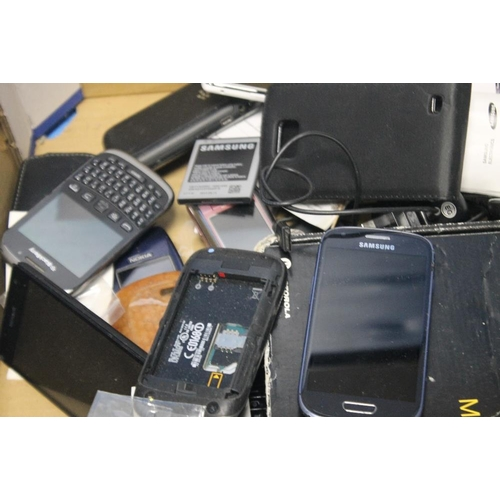 36 - A QUANTITY OF MOBILE PHONES, chargers etc. A/F