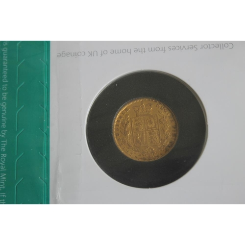 41 - A VICTORIAN 1854 SHIELD BACK SOVEREIGN IN ROYAL MINT COLLECTORS SERVICES PACKET