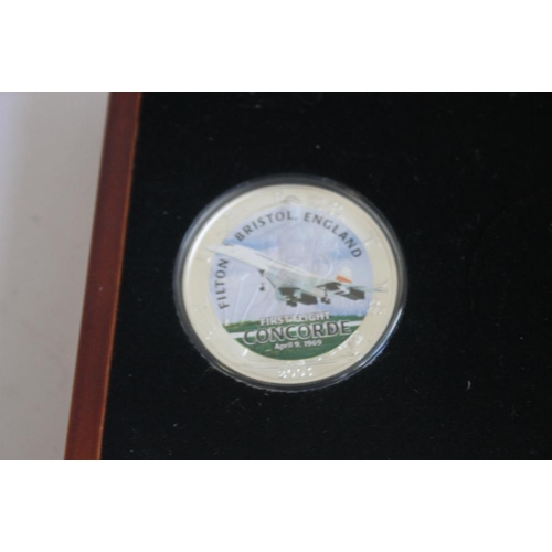 42 - CONCORDE FIRST AND LAST FLIGHT SILVER 1OZ EAGLE COIN PAIR, in case of issue with certificate of auth...