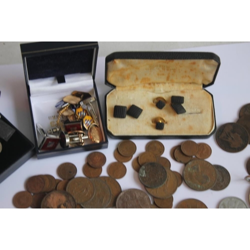 46 - A QUANTITY OF BRITISH PRE DECIMAL COINS, and a selection of cuff links