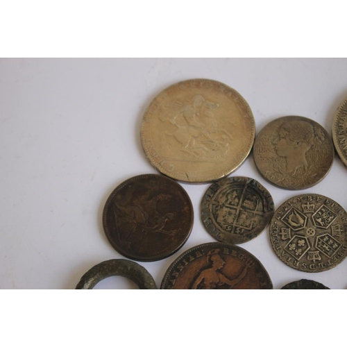49 - A SELECTION OF COINS ROMAN - 19TH CENTURY, to include a Roman radiate, 1569 sixpence, 1820 crown, 18...