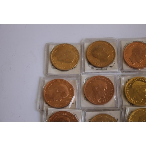 52 - A COLLECTION OF EDWARD VIII REPLICA/FANTASY CROWN SIZE COINS, in bronze, golden alloy etc