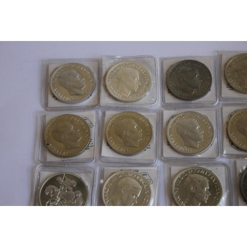 53 - A COLLECTION OF EDWARD VIII REPLICA/FANTASY CROWN SIZED COINS, in white metal