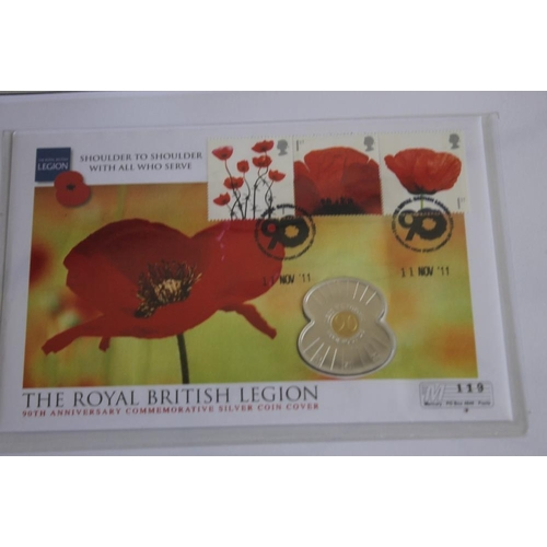 55 - A COLLECTION OF MODERN SILVER COMMEMORATIVE COINS, to include a British Legion 2011 silver £5 poppy ...