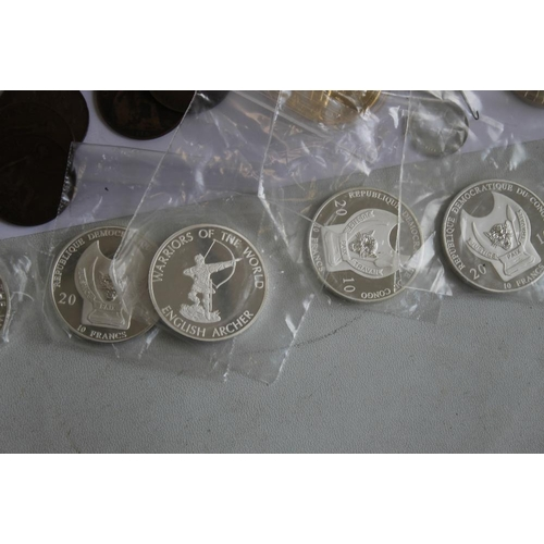56 - A COLLECTION OF MODERN COMMEMORATIVE COINS,  to include a cased set of St Helena 2013 sea life crown...