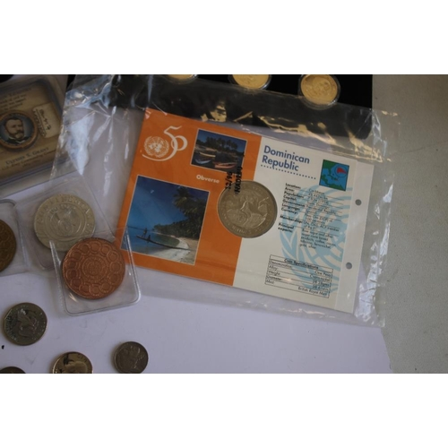 57 - A COLLECTION OF US AND CENTRAL AMERICAN INTEREST COINS, to include a selection of US buffalo nickels...
