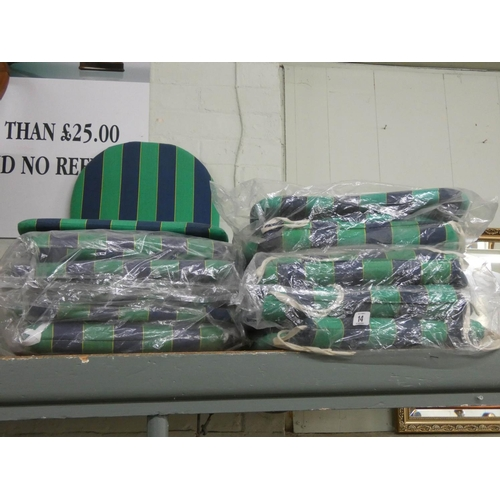 14 - Nine new or hardly used green and blue striped outdoor cushions...