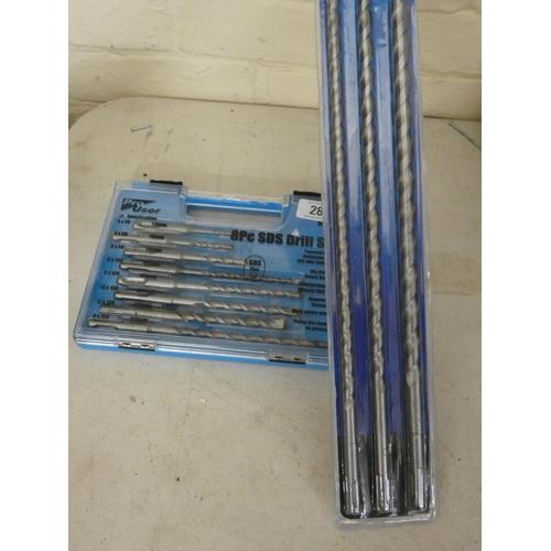 28 - A new 8 piece SDS drill bit set and a new 3 piece 460mm long SDS masonry drill bit set...