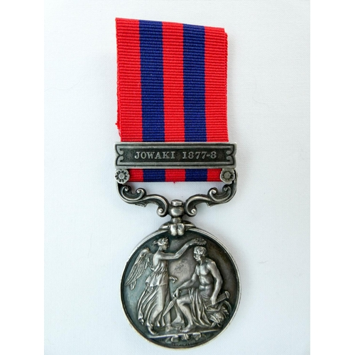 501 - The India General Service Medal 1854-1895 with one clasp Jowaki 1877-8, awarded to 2778 Private Robe...