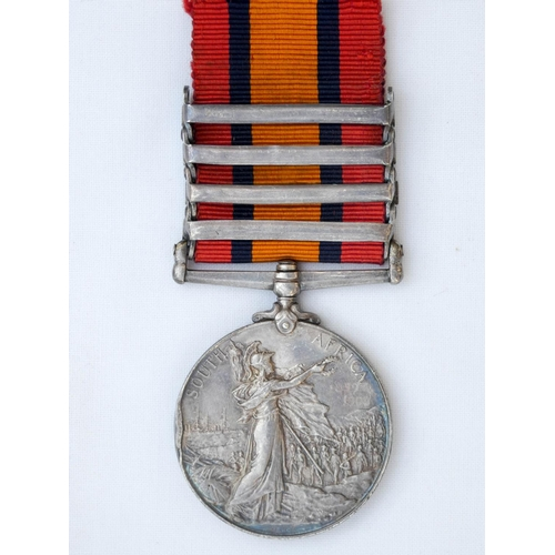 504 - The Queen's South Africa Medal with four clasps, Defence of Lady Smith, Orange Free State, Laing's N...