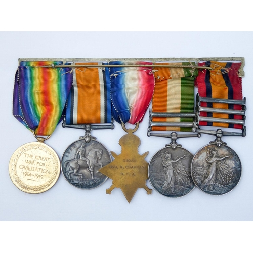 526 - A group of five medals, awarded to 18126 Gunner W Chapman 88th Battery Royal Field Artillery and Pom...
