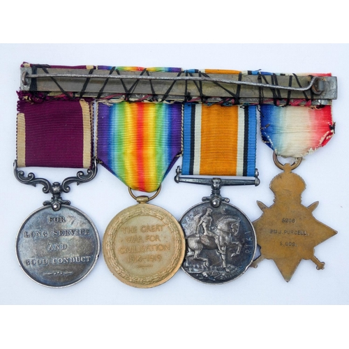 528 - A 1914 Star and bar Trio and Army Long Service Good Conduct awarded to 5206 Private J Purcell of the...