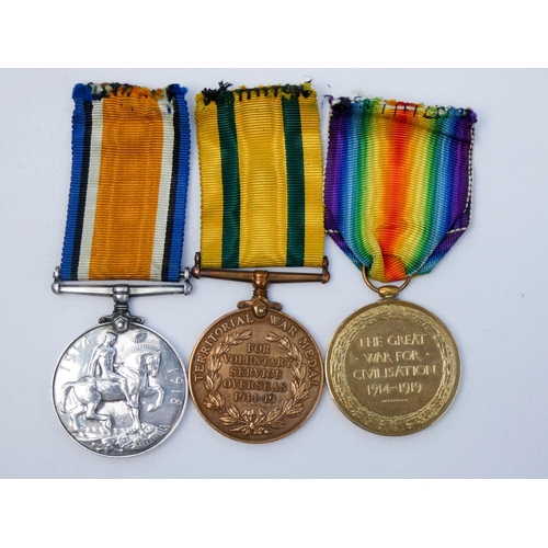 534 - A Territorial Force War Medal Trio awarded to 1192 Corporal H Doney Royal Artillery...