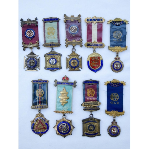 558 - A collection of nine medals and jewels from the Royal and Ancient Order of the Buffalo from the mid ...