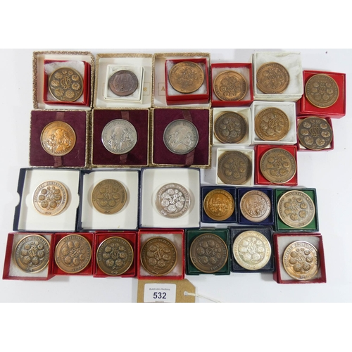 532 - Large collection of gardening prize medals- London Garden Society, chrysanthemum society etc, most b...