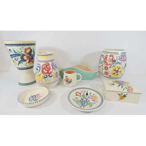 546 - A collection of vintage traditional Poole Pottery - 8 pieces in the lot...