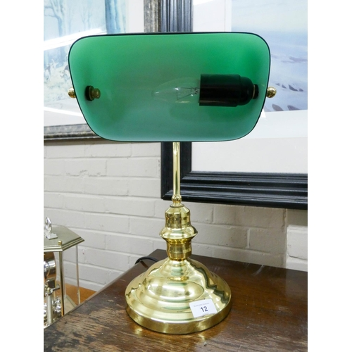 12 - A Bankers style brass and green glass desk lamp...