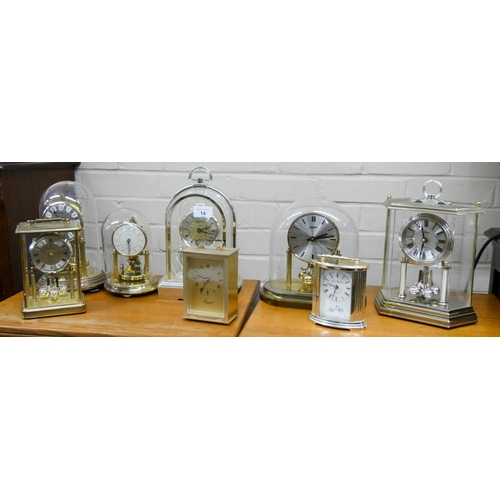 14 - Eight assorted 400 day and carriage type clocks...