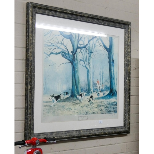 15 - A signed framed print of fox hunting scene entitled 'Giving Chase' image size 26