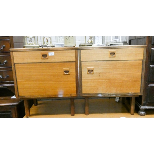 17 - A pair of 1970's teak bedside cabinets matching the previous lot...