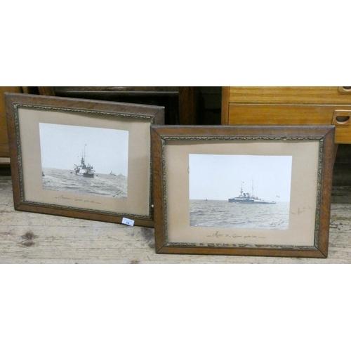 18 - A pair of oak framed photographs of First World War battleships...