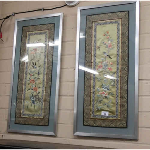 29 - A pair of framed Japanese silk work pictures...