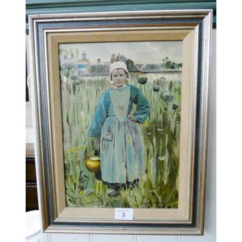3 - An oil painting of a Dutch girl signed J Fasacaliy, indistinct, 1927, 13