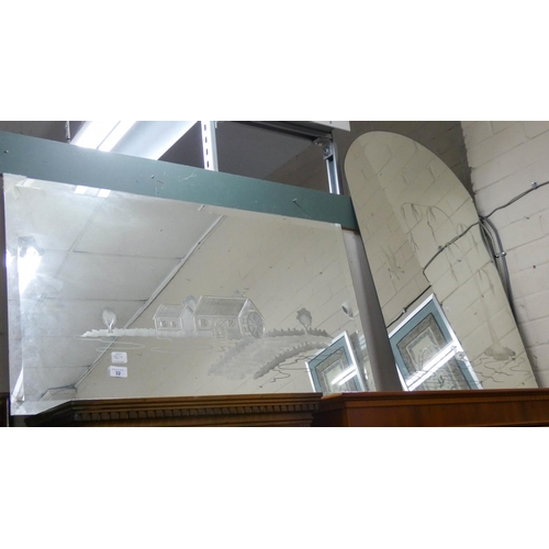 32 - Two etched frameless wall mirrors...