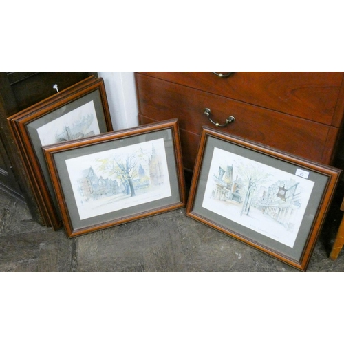 42 - A set of four framed coloured prints, cathedrals, Tunbridge Wells etc...