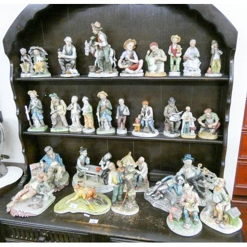 43 - A quantity of assorted Capodimonte style and other figures...