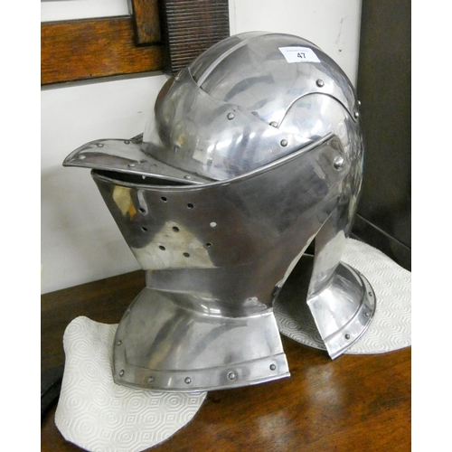 47 - A reproduction metal Armour helmet...