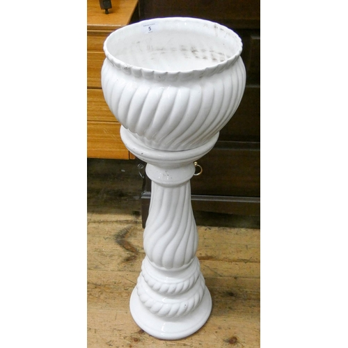 5 - A white china jardiniere with pedestal...