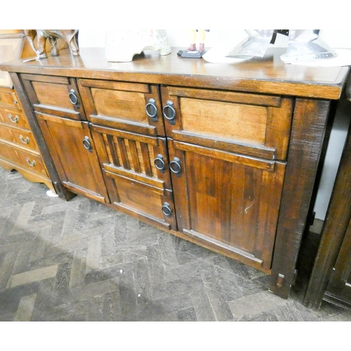 51 - Heavy mahogany finished sideboard fitted three drawers and cupboards 5' wide...