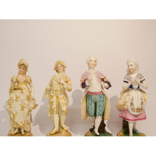 474 - Two pairs of continental figure ornaments all approximately 9