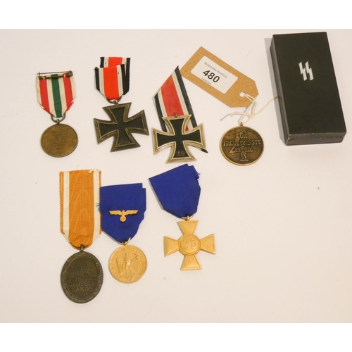 480 - A collection of German medals to include 2nd World War Iron Cross, 4 years bronze service medal for ...