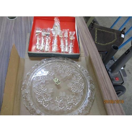 21 - Carmen Torte Crystal Plate & Silver Plated Serving Set...