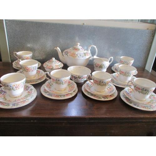 7 - Paragon Tea Set 'Countey Lane' Fine Bone China (Tea Pot,Sugar Bowl,Milk Jar 8+8 Cup & Saucer & 8 x T...