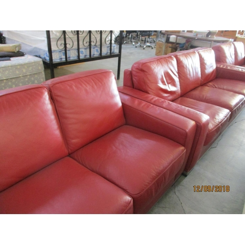 9 - Contemporary Red Leather 3 - Seater & 2 - Seater Chrome Feet / Base Designer Mate Retail Price Price...