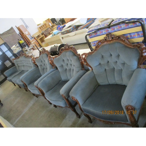 55 - Antique Dark Green Sofa with 3 x Armchairs...