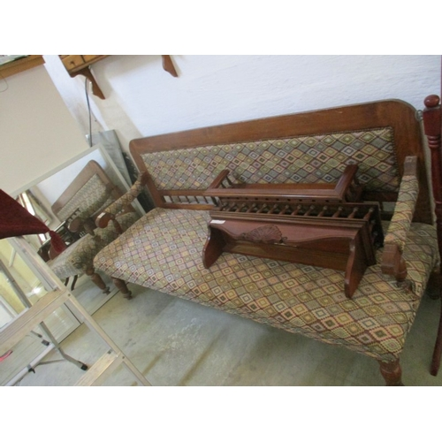 18 - Traditional Cypriot Wooden Couch with Decorative Upholster...