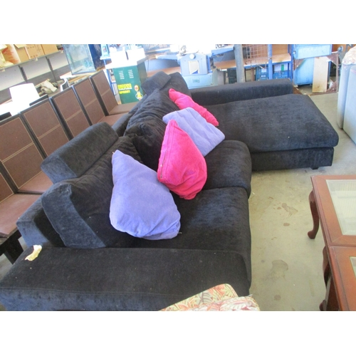 62 - Modern Black 3-Seater Sofa with Chaise Long...
