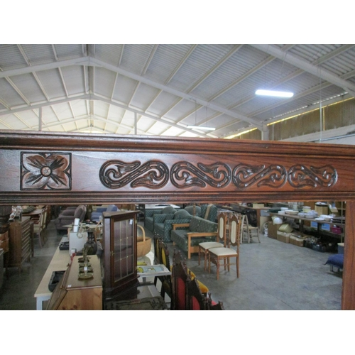 42 - Vintage Style Wooden Unit, Carved with Front Glass (157 x 40 x 188 cm)...