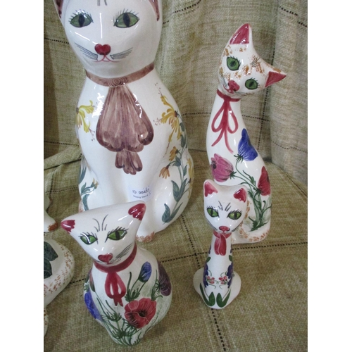 60 - Five Ceramic Hand - Painted Cat Ornaments...