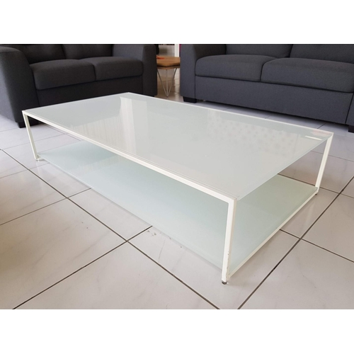 10 - 'Pianca' Modern White Metal and Glass Coffee Table, 132 x 71 cm, (RRP €862) ** Trade sale, VAT is pa...
