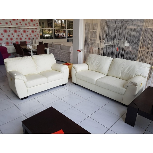 13 - Modern White Leather Three Seater Sofa Plus Matching Two-Seater Sofa (RRP €1800) ** Trade sale, VAT ...